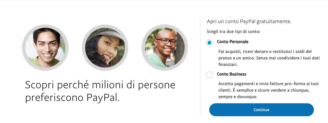 aprire conto paypal personale